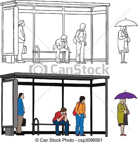 City bus stop clipart.