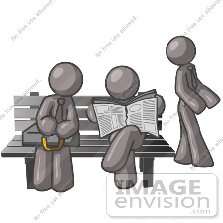 Clip Art Graphic of Grey Guy Characters Waiting at a Bus Stop.