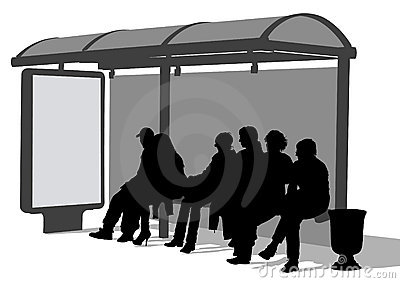 People Waiting Bus Stop Stock Illustrations.