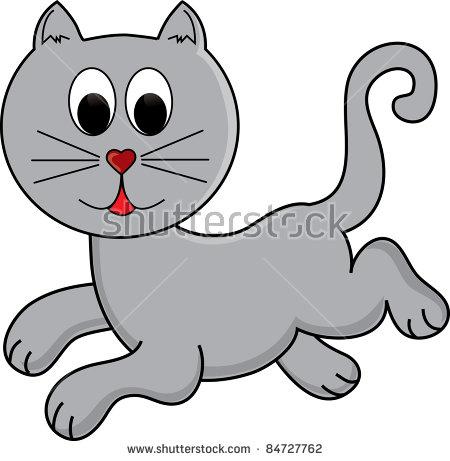 Clip Art Illustration Cartoon Gray Cat Stock Illustration 84727762.