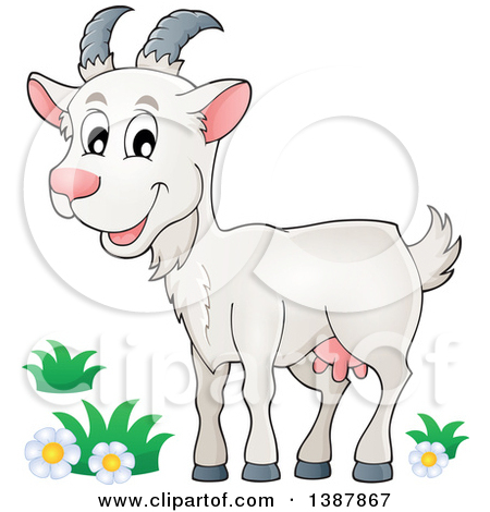 Clipart of a Cute Gray Goat Farm Animal.