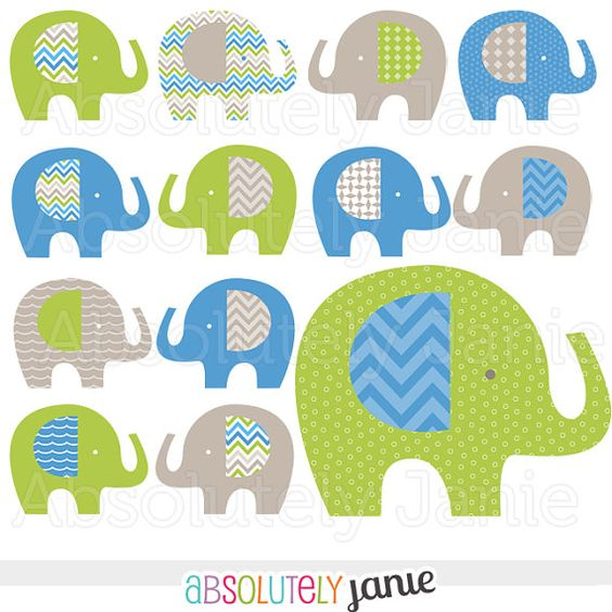 50% OFF SALE Cool Boys Blue Green Gray Elephant Digital Clipart.
