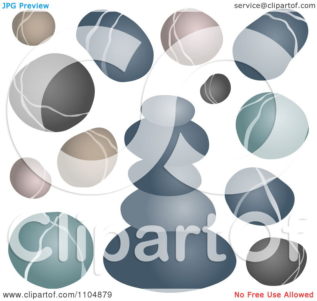 Clipart Gray Green And Brown Pebbles Rocks And Stones.