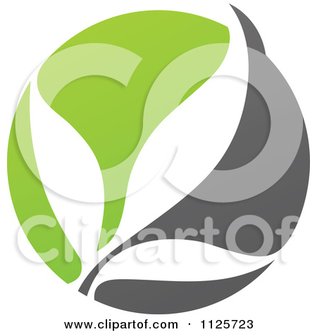 Clipart Of A Green And Gray Organic Heart And Leaf 1.