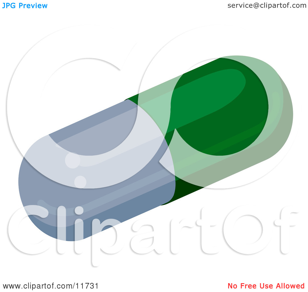Green and Gray Capsule Pill Clipart Illustration by.