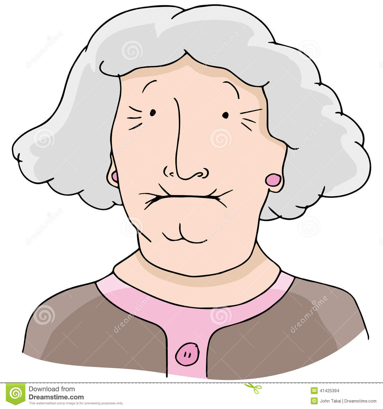 Cartoon Grandma Gray Hair Stock Illustrations.