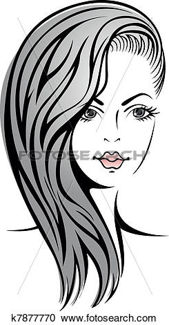 Clipart of girl with blond hair k7877770.
