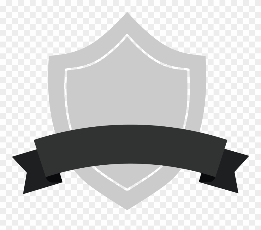 Gray Shield Badge With Black Ribbon.