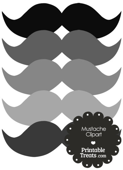 Mustache Clipart in Shades of Grey — Printable Treats.com.