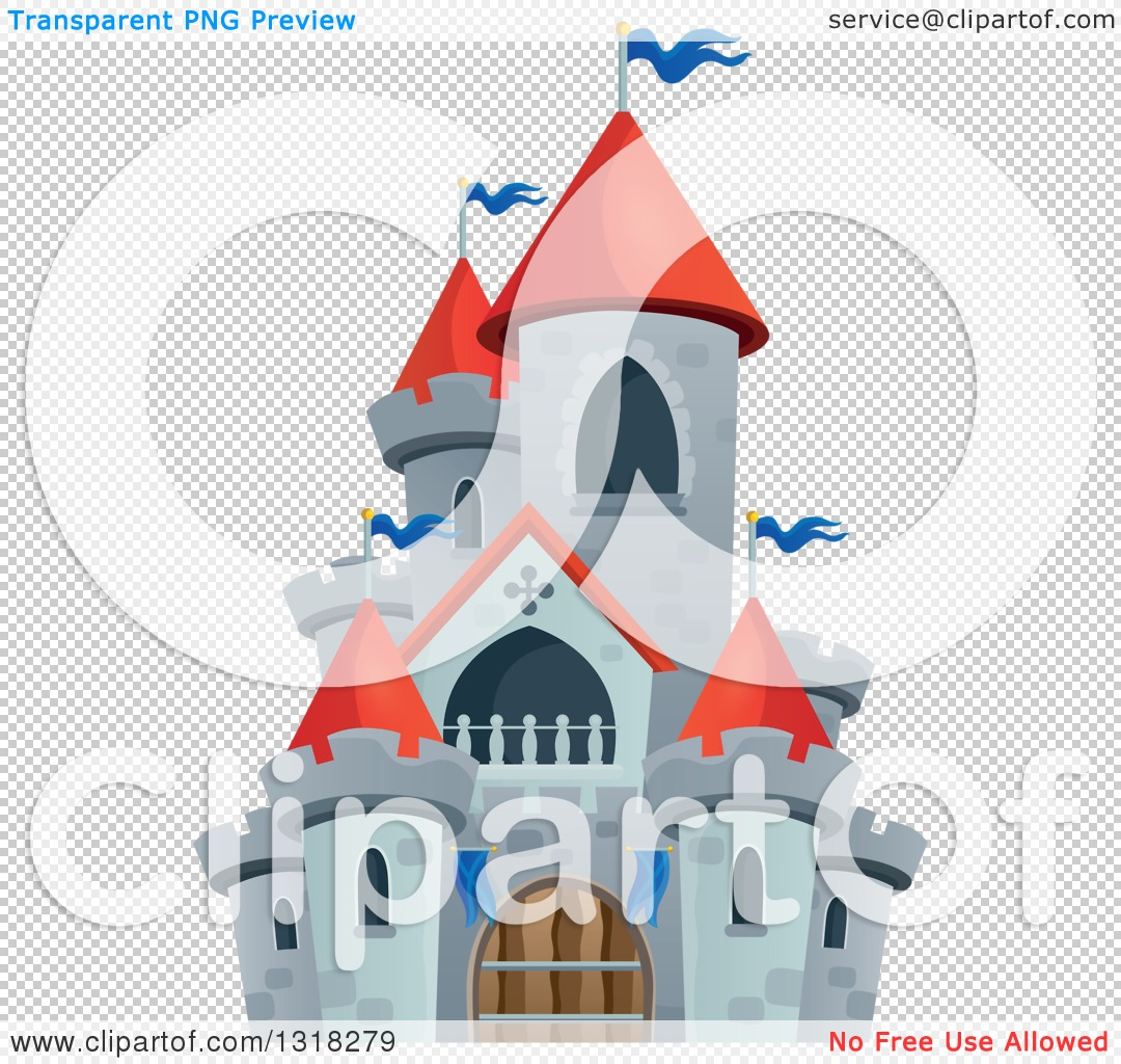 Clipart of a Gray Stone Castle with Red Turrets.