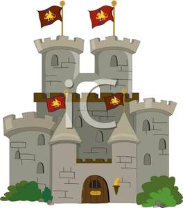 Art Image: A Gray Stone Castle with Waving Red Flags.
