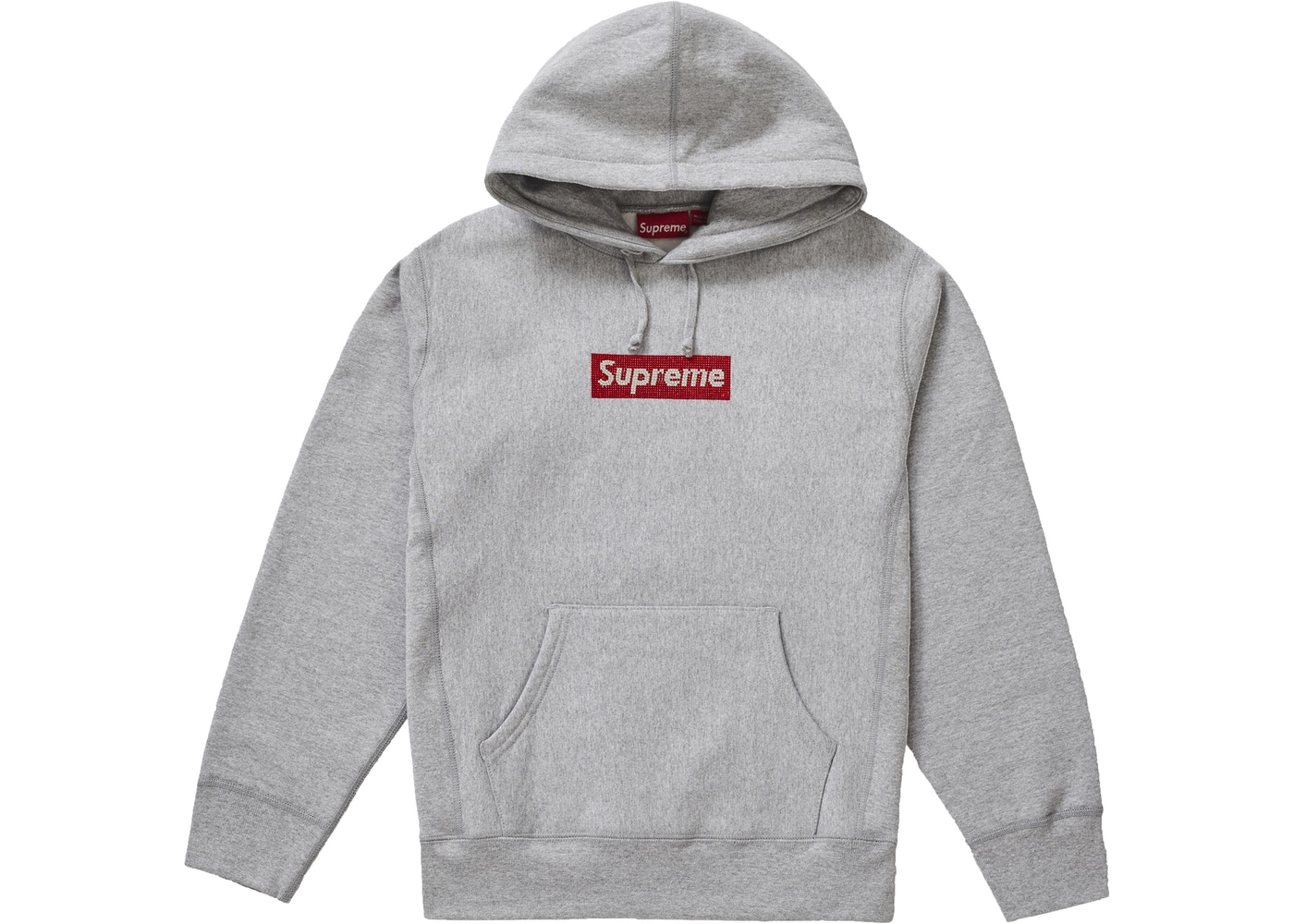 Supreme Swarovski Box Logo Hooded Sweatshirt Heather Grey.