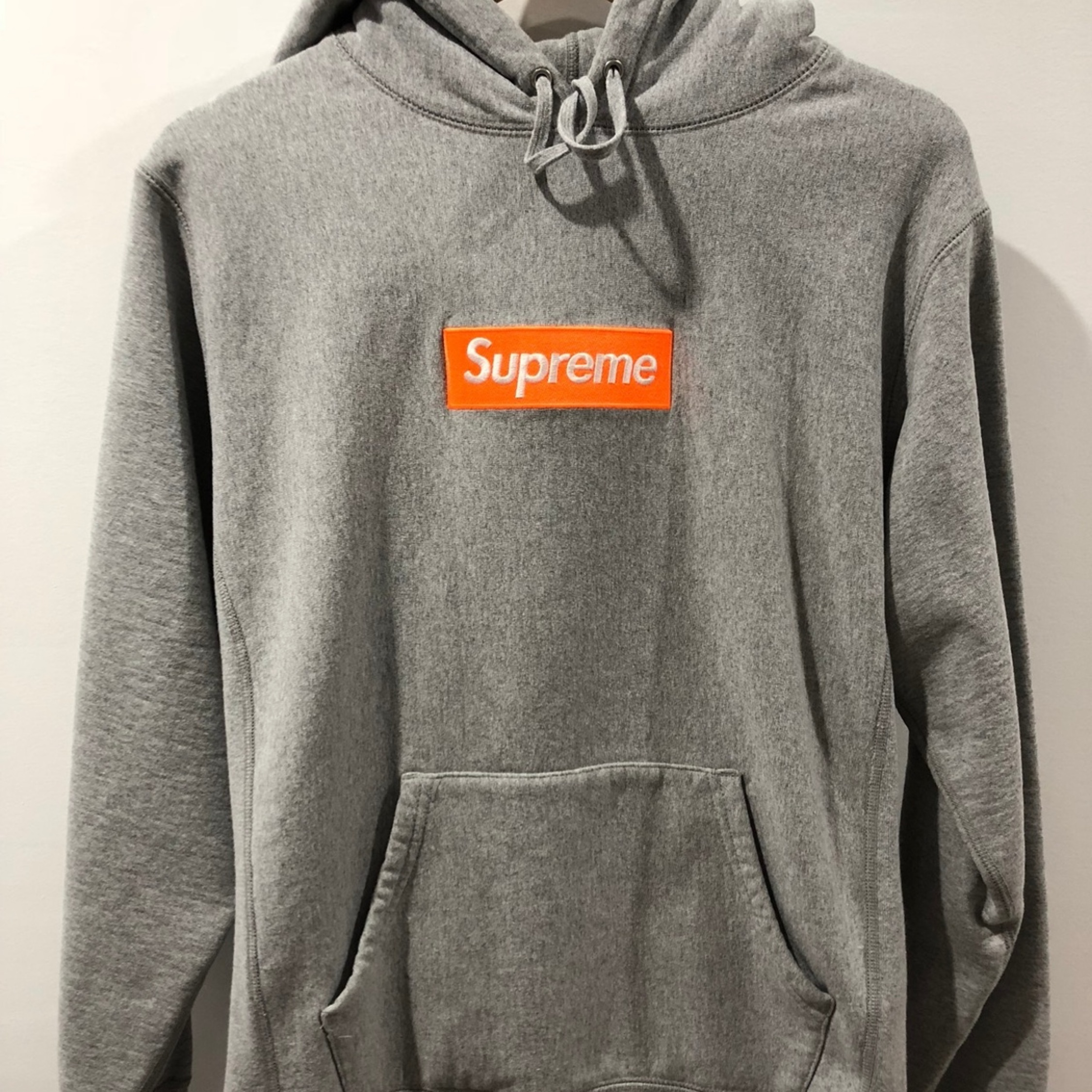 Supreme Box Logo Hoodie Grey Orange.