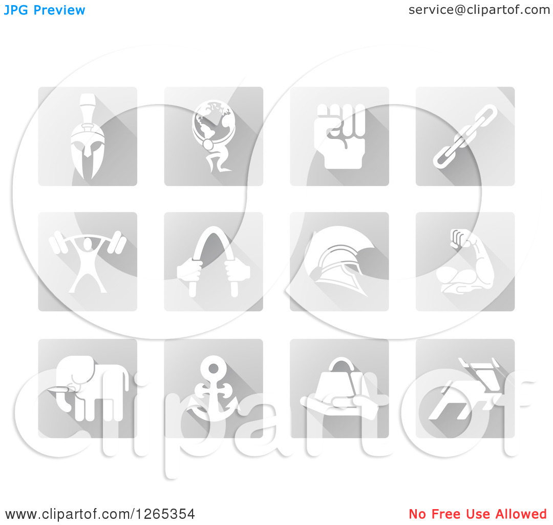 Clipart of White Strength Icons on Gray Tiles.