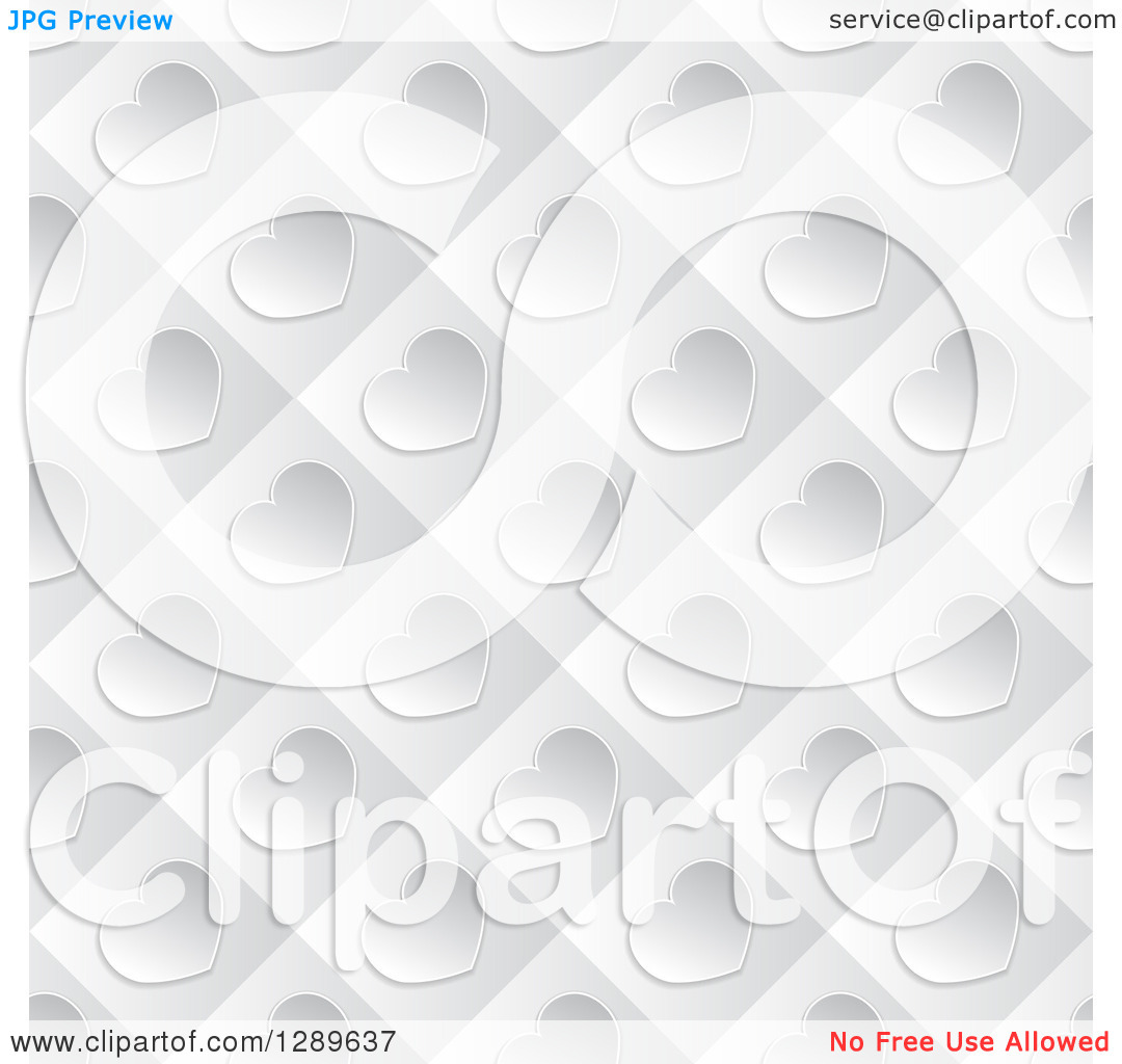 Clipart of a Background of Diagonal Silver Valentine Hearts on.