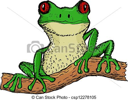 Vector Clipart of tree frog.