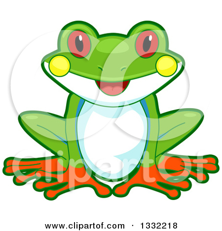 Clipart of a Cute Happy Tree Frog Sitting.