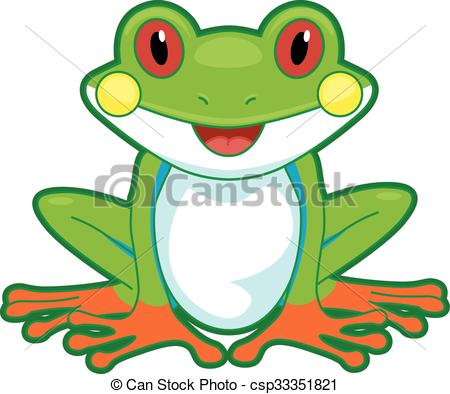 Vector Illustration of Tree Frog Front.