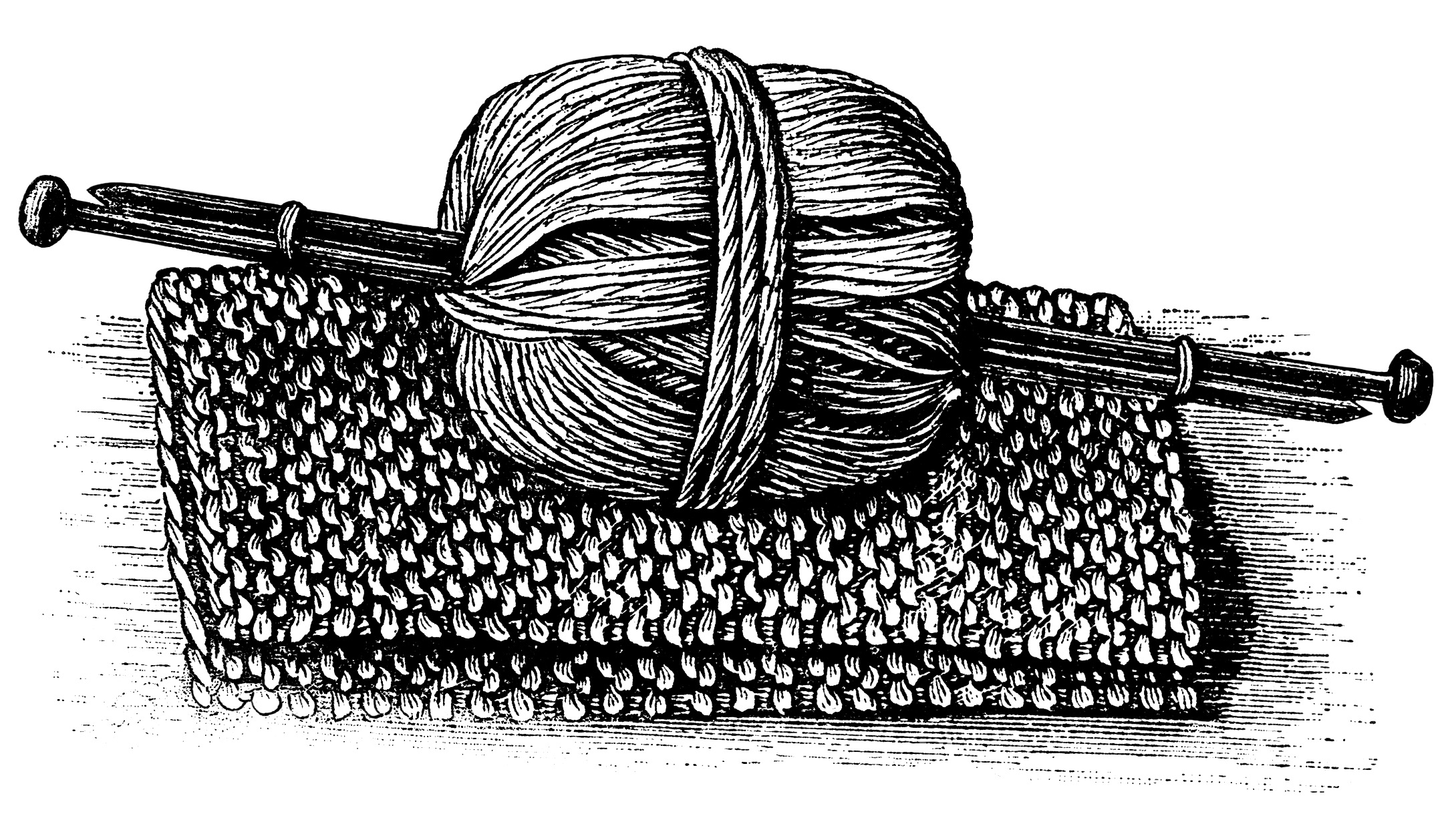 black and white graphics, vintage knitting clipart, ball of yarn.