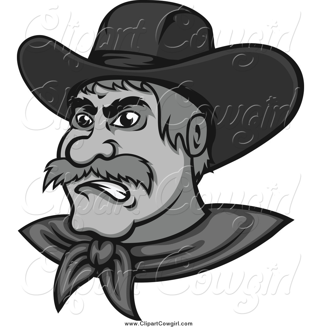 Clipart of a Grayscale Mad Cowboy by Vector Tradition SM.