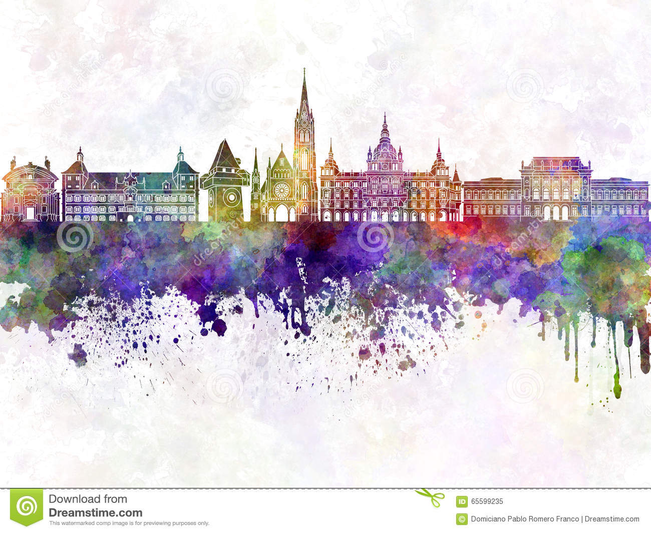 Graz Skyline In Watercolor Stock Illustration.