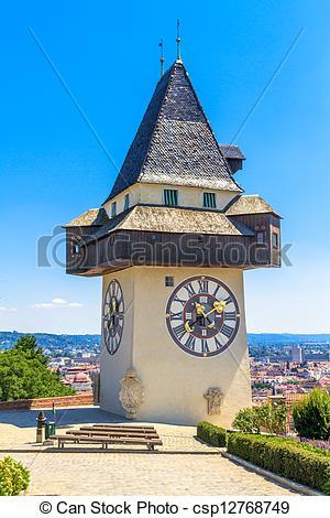 Stock Foto von uhr, (uhrturm), berühmt, österreich, Turm, graz.
