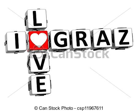 Clipart of 3D I Love Graz Crossword on white background.