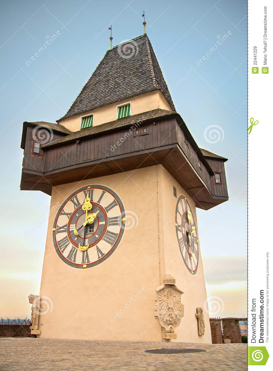 Graz Clock Tower Royalty Free Stock Images.