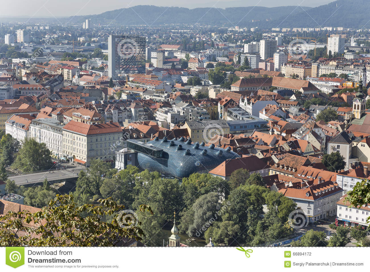 Graz Downtown Autumn Aerial Cityscape, Austria. Editorial.