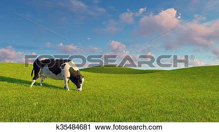 Clipart of Mottled dairy cow graze on green pasture k35484681.