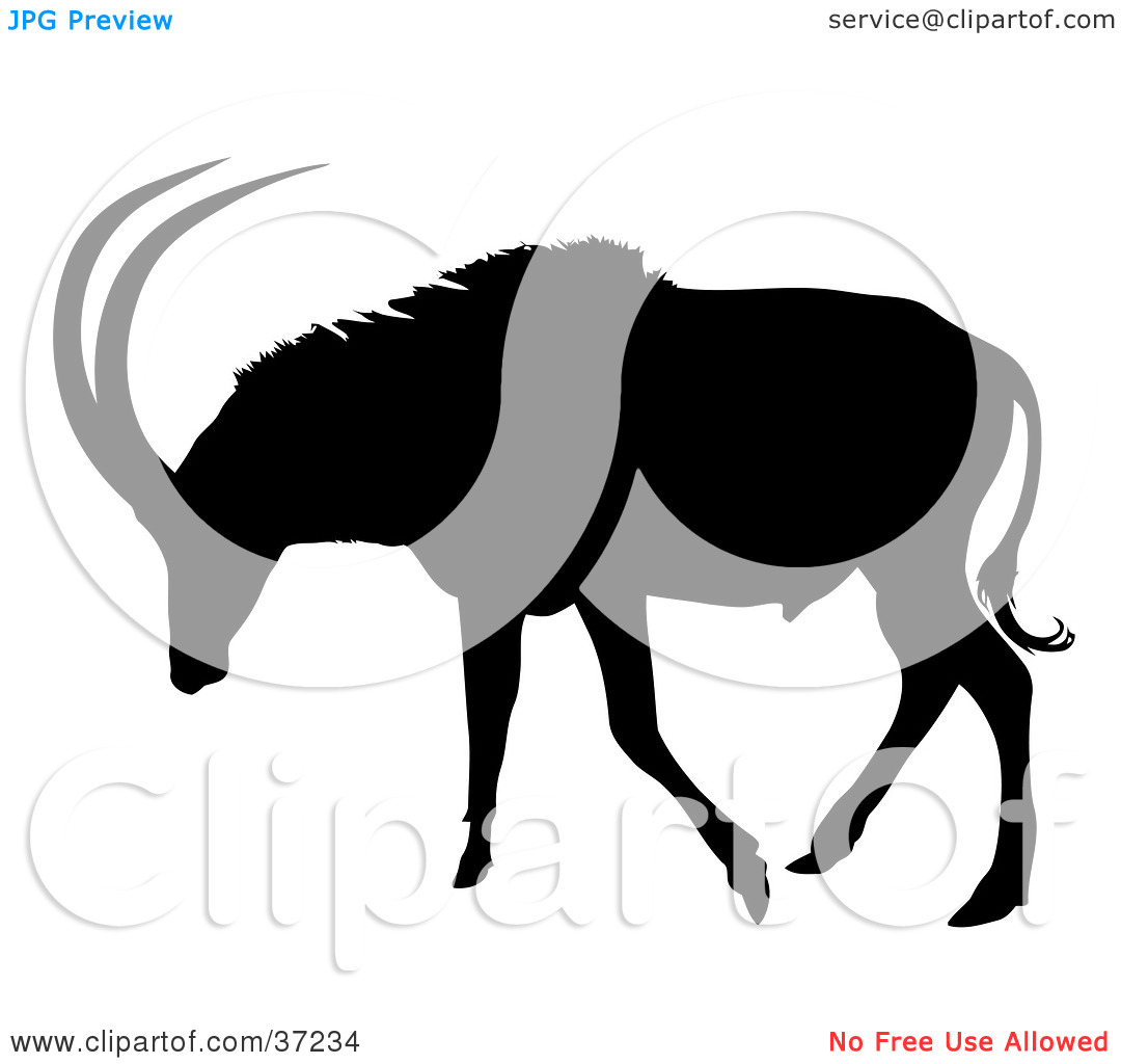Clipart Illustration of a Black Silhouette Of An Antelope About To.