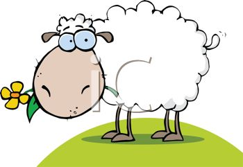 Clip Art Illustration of a Sheep Grazing In the Grass.