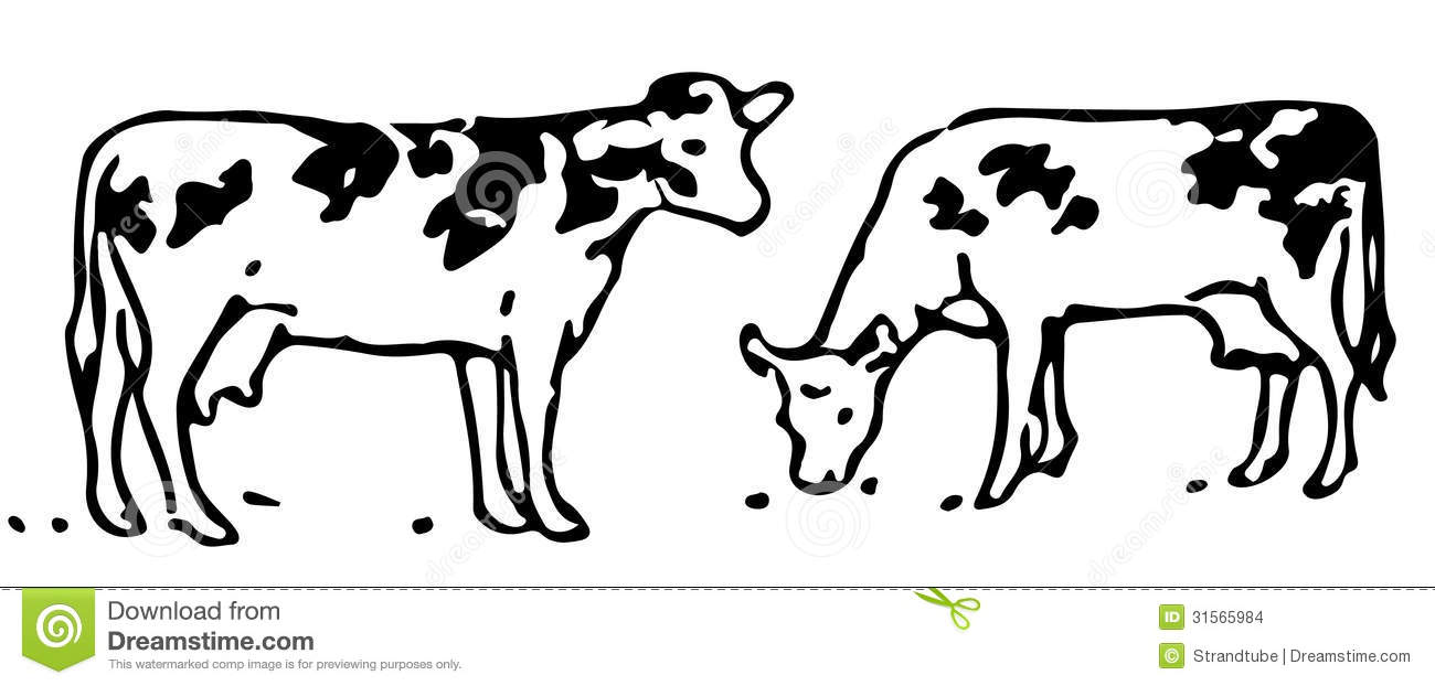 Grazing cow clipart.