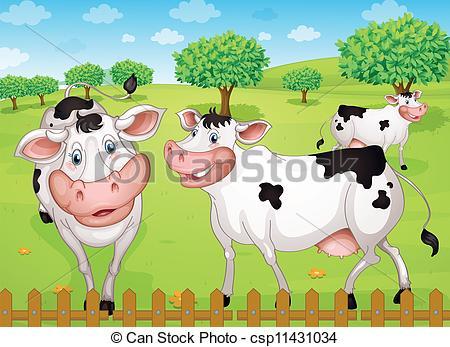 Vectors of cows grazing in farm.