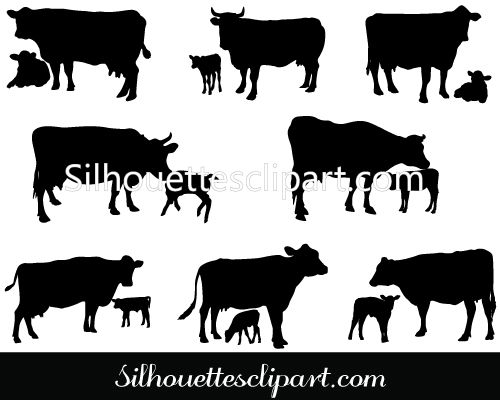 Cow and Calf Vector Silhouette Download Cow Silhouette.