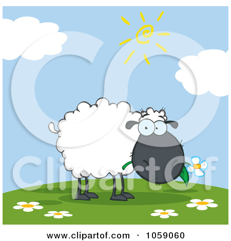 Grazing sheep clipart #1