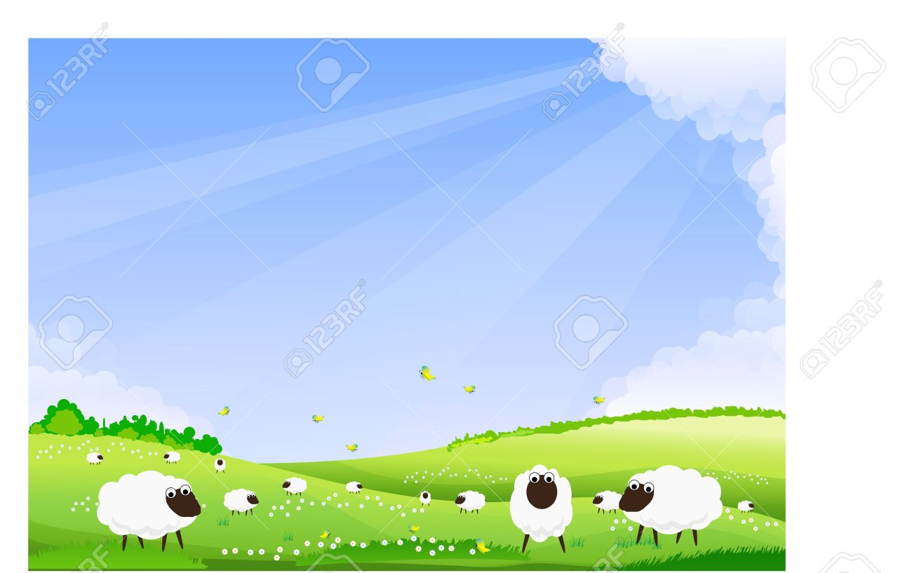 Sheep Grazing In A Green Field. Royalty Free Cliparts, Vectors.