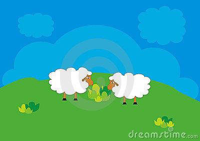 Sheep Grazing Clipart.