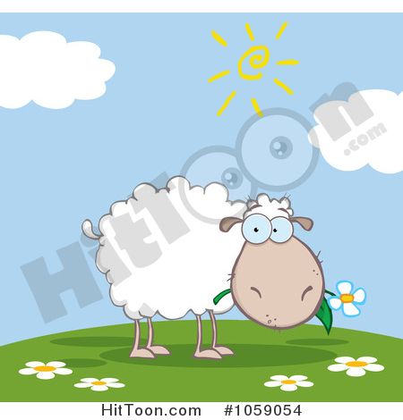 Sheep Clipart #1059054: Grazing Sheep on a Hill by Hit Toon.