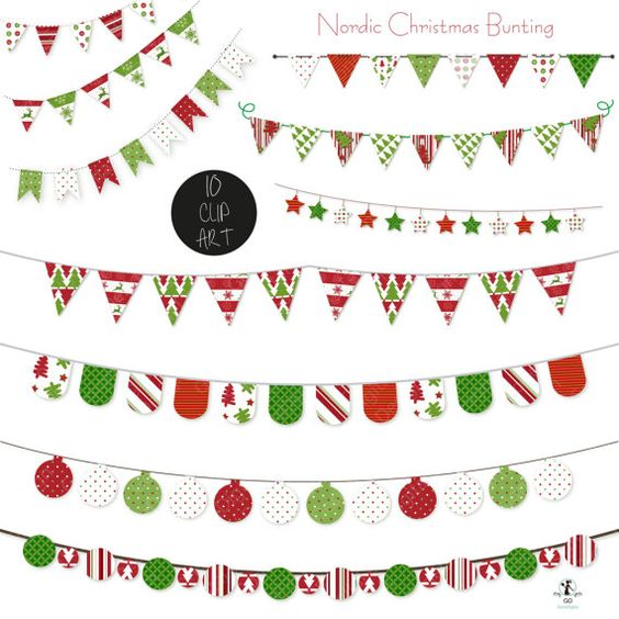 Clip Art Nordic Christmas Bunting clipart Digital Scrapbooking.
