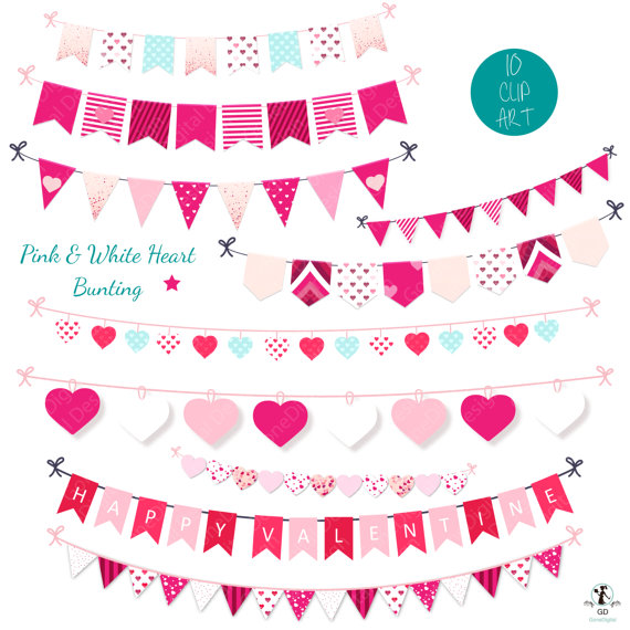 This Pink & White Heart bunting clipart set is a great addition to.