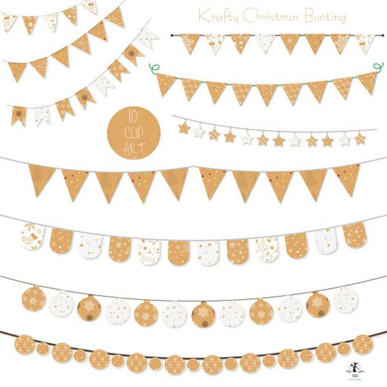 Krafty Christmas Bunting Clip Art Kraft Holiday Banner Printable.