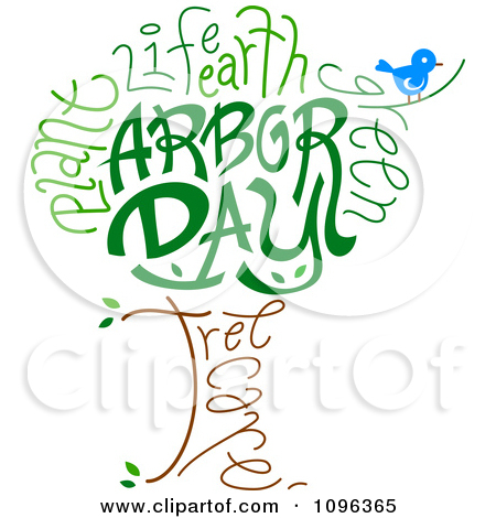Clipart Tree Foliage And Trunk Spelling Arbor Day.