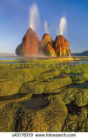 Stock Photograph of Spewing geyser, Great Basin, Nevada u43176319.