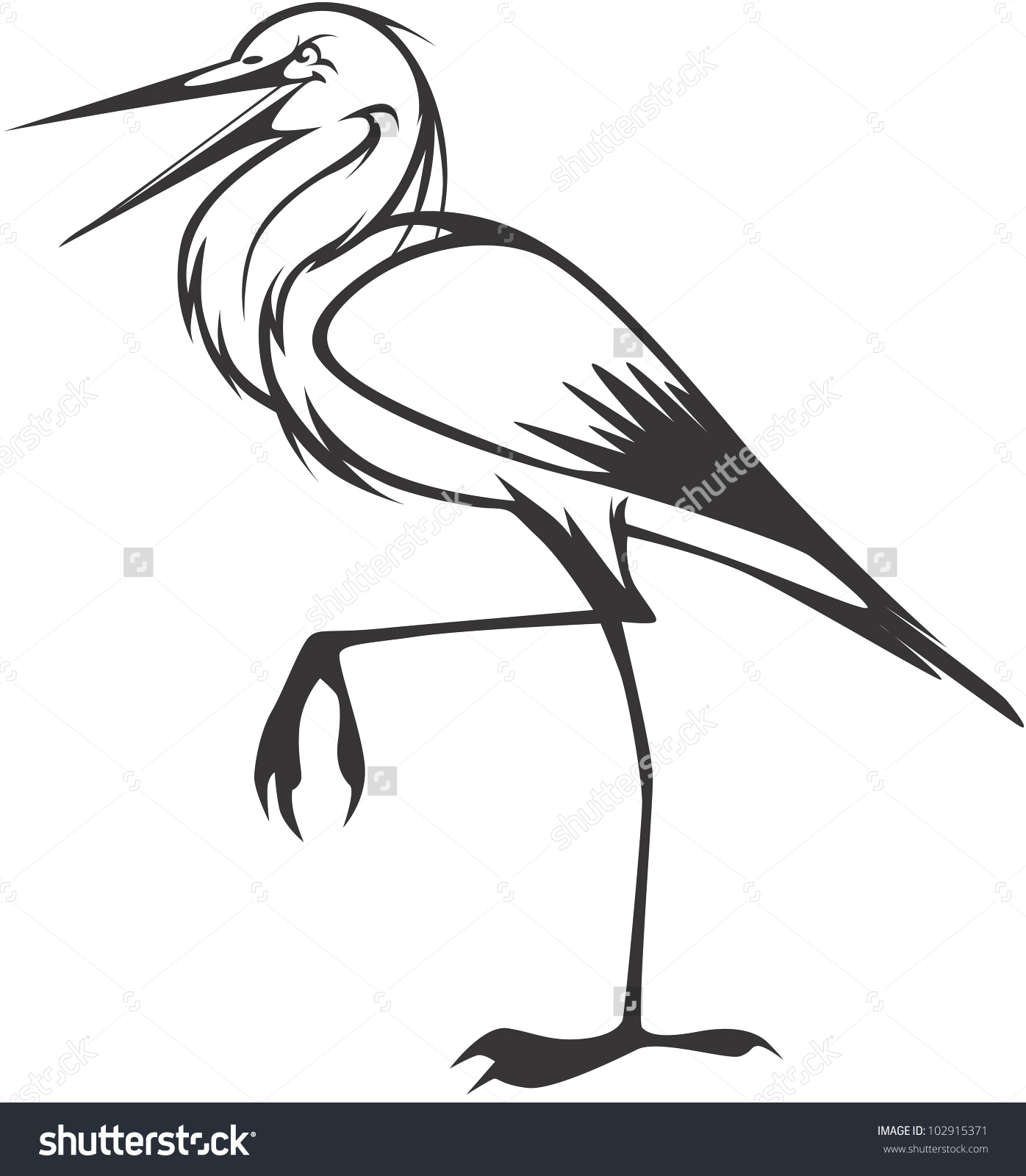 Creative Great Blue Heron Illustration Stock Vector 102915371.