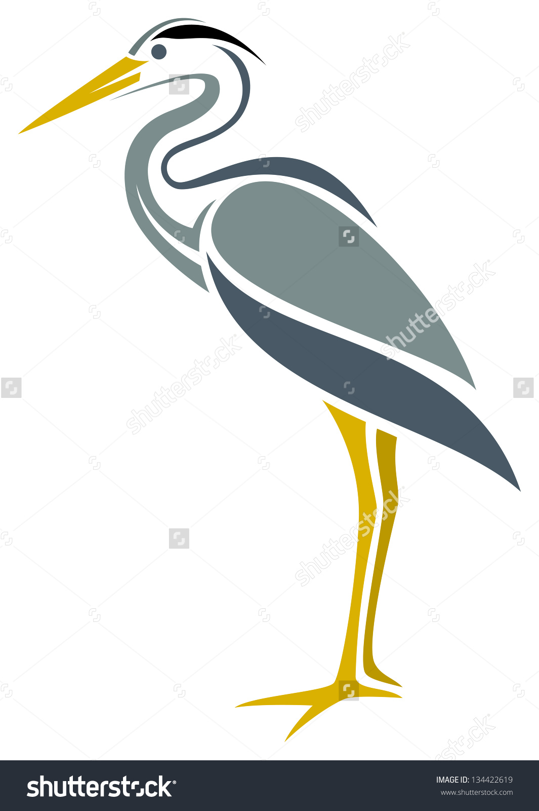 Stylized Great Blue Heron Stock Vector 134422619.