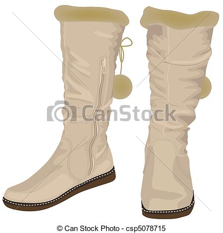 Clipart Vector of White women's boots with fur. Illustration in.