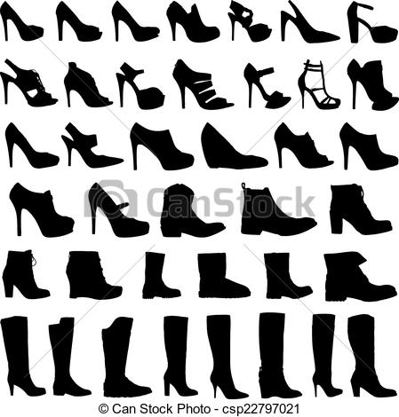 Vector Illustration of Illustration of Womens shoes and boots icon.