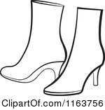 Clipart of a Pair of Orange Womens Boots.