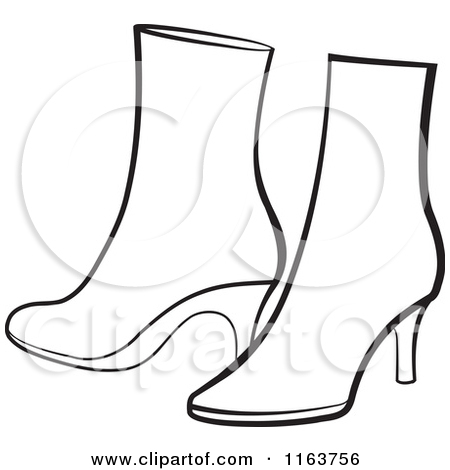Clipart of a Pair of Black and White Womens Boots.